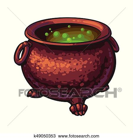 clipart halloween cauldron with boiling green potion inside isolated vector illustration fotosearch