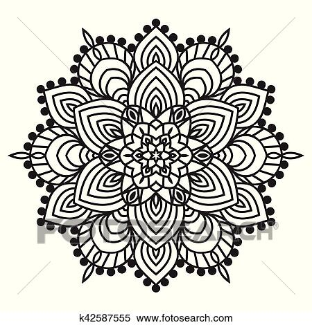 Clipart Of Hand Drawing Zentangle Element Black And White Flower