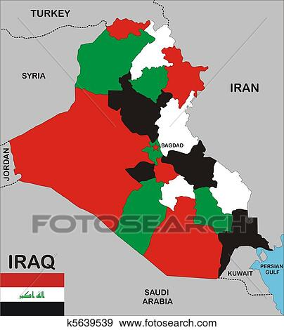 Iraq map Stock Illustration