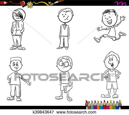 Kind Knaben Satz Ausmalbilder Clip Art K39843647 Fotosearch