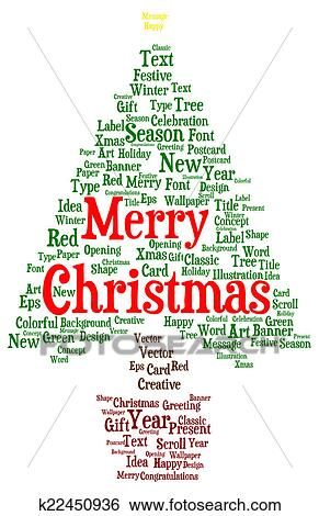 Stock Illustration of Merry Christmas word cloud in a shape of a ...