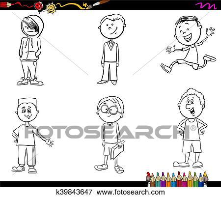 Clip Art - niño, niños, conjunto, libro colorear k39843647 - Buscar ...