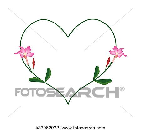 Clipart Rose Desert Rose Fleurs Dans A Forme Coeur K33962972