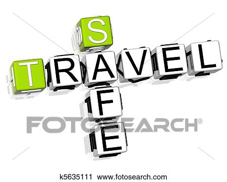 3D Travel Safe Crossword On White Background
