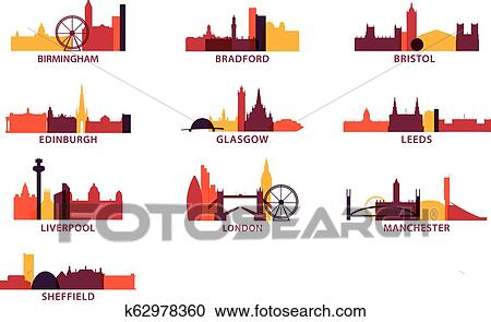 UK cities icons set skyline vector logo pack Clipart