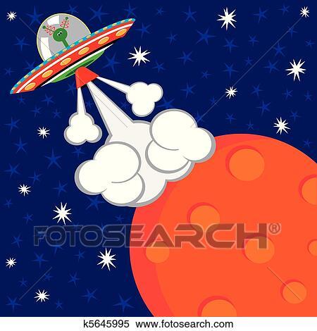 外国人 宇宙船 発射 Birthday クリップアート切り張りイラスト