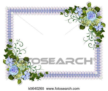 結婚式の招待 青 花 イラスト K5640265 Fotosearch