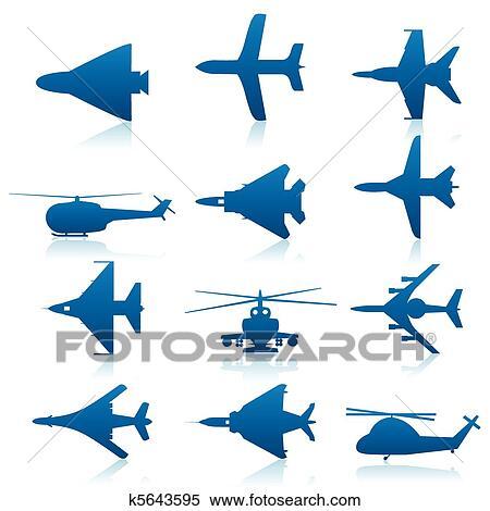 クリップアート切り張りイラスト絵画集 航空機 アイコン