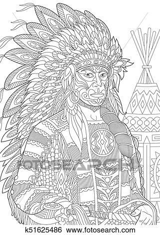 Clip Art - americano nativo, jefe indio k51625486 - Buscar Clip Art ...
