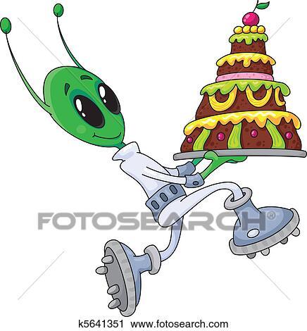 Clipart Außerirdischer Mit Kuchen K5641351 Suche Clip Art