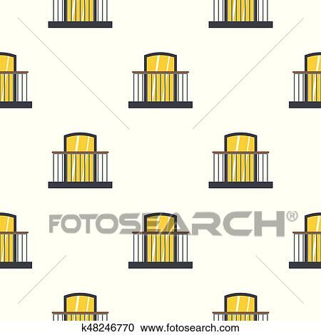 Clipart Balkon Mit Eisen Gelander Ich Muster Flache