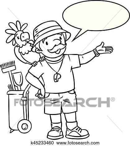Coloring Book Of Funny Zoo Keeper With Parrot Clipart