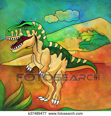Dinosaur In The Habitat Illustration Of Tyrannosaur Stock