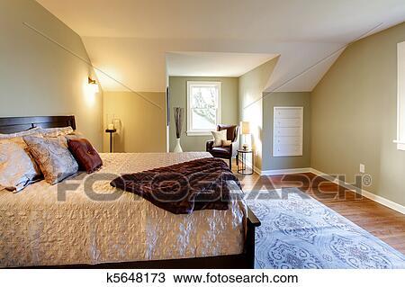 Banque de Photo - frais, vert, chambre à coucher, à, moderne, brun ...