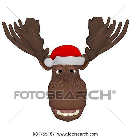 Weihnachtsbilder Elch.Karikatur Elch Mit A Weihnachten Kappe Stock Illustration