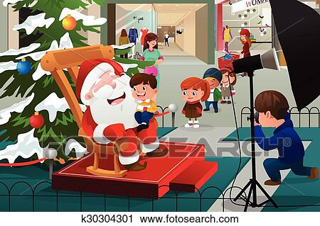 clipart of kids lining up to take pictures with santa