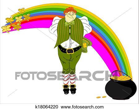 Leprechaun Large Rainbow Pot Gold Clipart K18064220