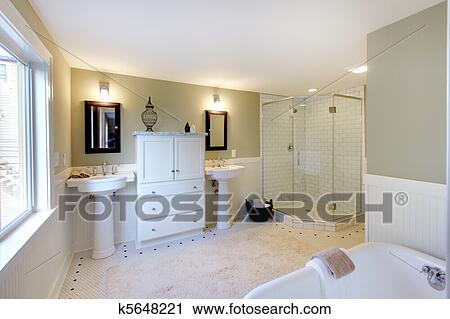 Luxus, badezimmer, mit, eisen, wanne, und, walk-in, dusche, und,  doppelgänger, sinks. Stock Bild