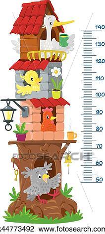 Clipart Meter Wand Mit Gross Fee Baum Und Lustig Vogel