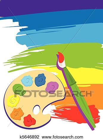 Clipart Palette Pinsel Und Segeltuch K5646892 Suche Clip Art