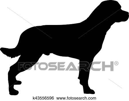 clip art of rottweiler silhouette k43556596 search clipart rh fotosearch com Black and White Cartoon Bulldog Black and White Anime Vampire
