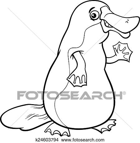Clipart - schnabeltier, tier, karikatur, färbung, seite k24603794 ...