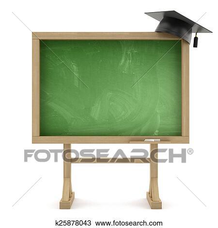 School blackboard with graduation cap Drawing