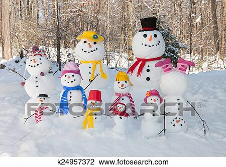 Snowman Family Outdoors