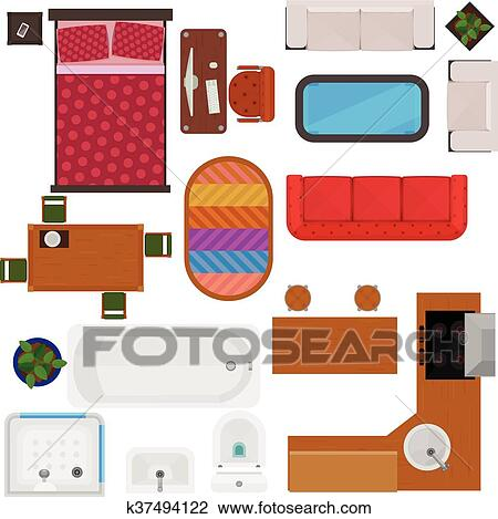 Top View Of Home Furniture Clipart K37494122 Fotosearch