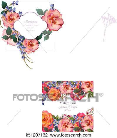 Wedding Invitation Card Vector Roses And Lavender Flowers