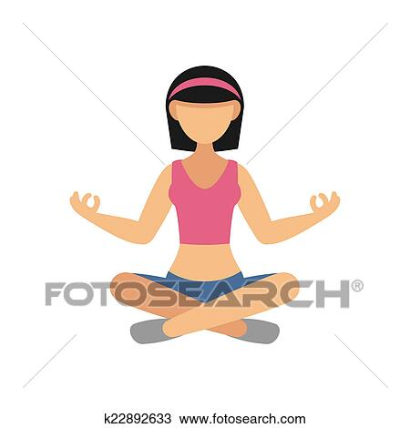 woman in pose practicing yoga drawing  k22892633