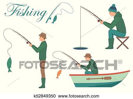 رسم كاريكتوري سفينة صيد الرجل Cath Fish عن صنارة الصيد سمك Clipart K52849350 Fotosearch