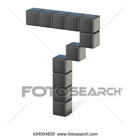 8 Bit Font Numero 7 3d Desenho K34054833 Fotosearch