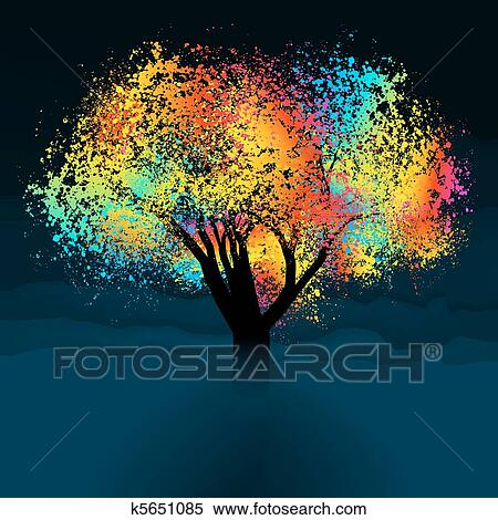clipart of abstract colorful tree with copy space eps 8 k5651085 rh fotosearch com Space Background Galaxy Clip Art