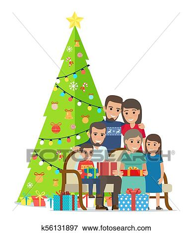 Big Family Gathered Near Christmas Tree With Gifts Clip Art K56131897 Fotosearch