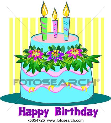 Clipart Of Happy Birthday Candle Cake K5654725