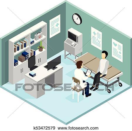 clip art of patient in doctors office vector illustration k53472579