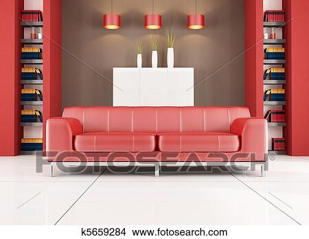 Drawings of red and brown contemporary living room k5659284 - Search ...
