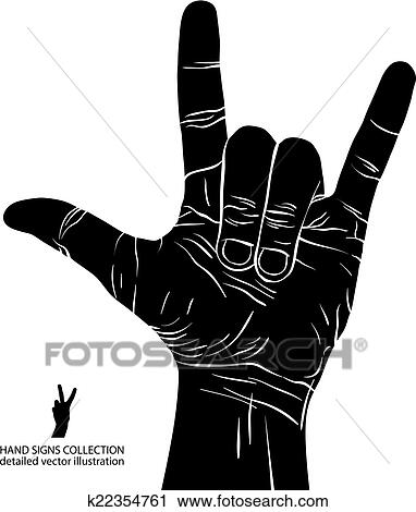 Clipart Of Rock On Hand Sign Rock N Roll Hard Rock Heavy Metal