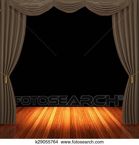 Drawings Of Stage With Brown Curtains K29055764