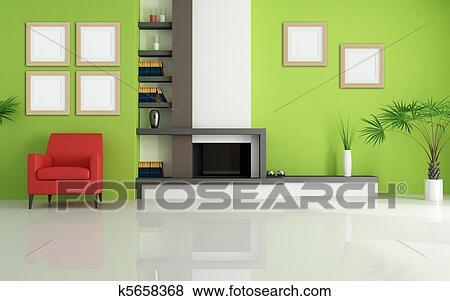 Archivio illustrazioni verde soggiorno con moderno caminetto