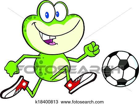 かわいい 緑のカエル で サッカーボール クリップアート切り