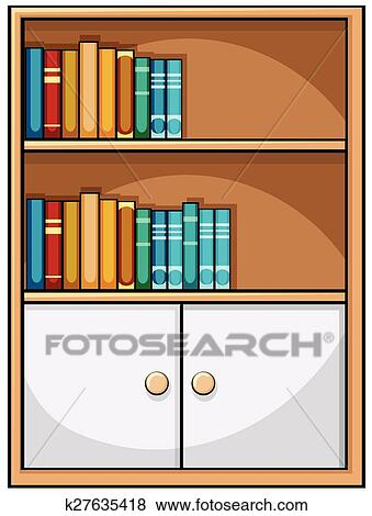 Clip Art Of Bookshelf K27635418
