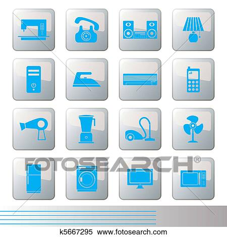 Clipart Of Electrical Appliances Icons Set K5667295 Search Clip
