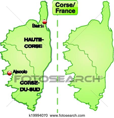 Clipart Of Map Of Corsica K19994070 Search Clip Art Illustration