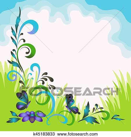 Dibujo Paisaje Flores Mariposas Y Cielo K45183833 Buscar