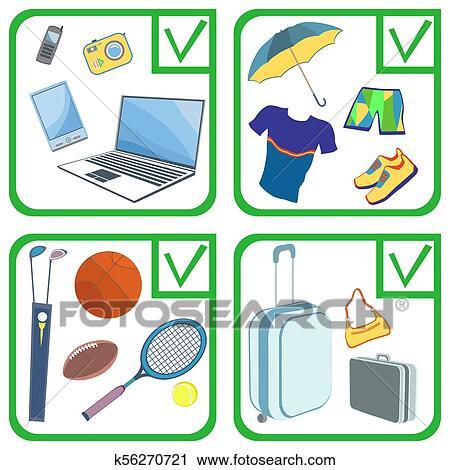 Personal belongings things, items, goods. Illustration ...