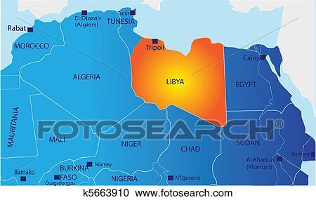 Politico Mapa De Libia Clipart K5663910 Fotosearch