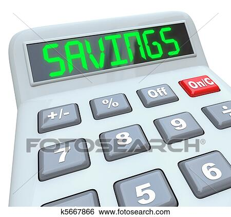 stock images of savings word on calculator for financial budget