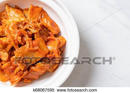 Stir Fried Pork With Kimchi Stock Photography K68067595 Fotosearch